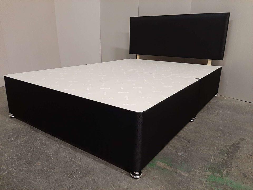 4ft6 double size black fabric divan split base +20 inch headboard