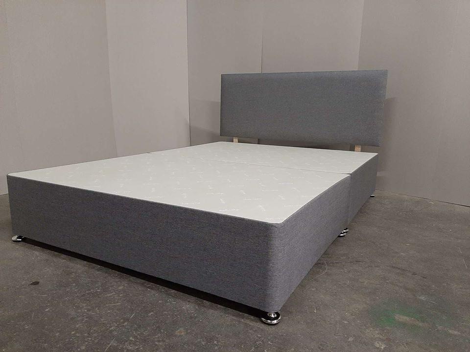 4ft6 double size divan split base + 20 inch headboard